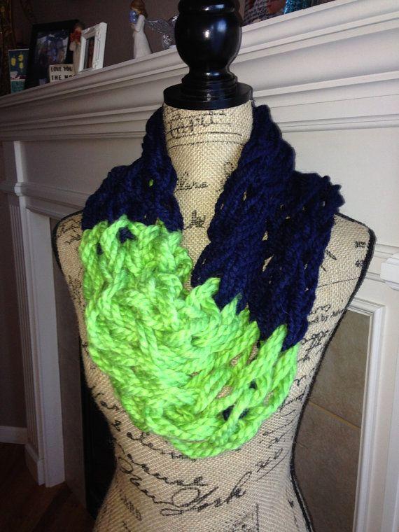 Kenzie Chunky Seahawk Scarf: Lime and blue, GO HAWKS! Perfect chunky ...