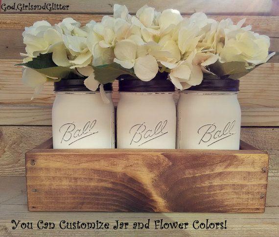 Mason Jar Decor,Planter With Mason Jars,Home Decor,Table Centerpieces,Rustic  Kitchen Centerpieces, Mason Jar Decor,Planter Box With Jars