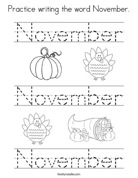 Practice Writing The Word November Coloring Page Writing Practice,  Kindergarten Learning, Preschool Learning Activities
