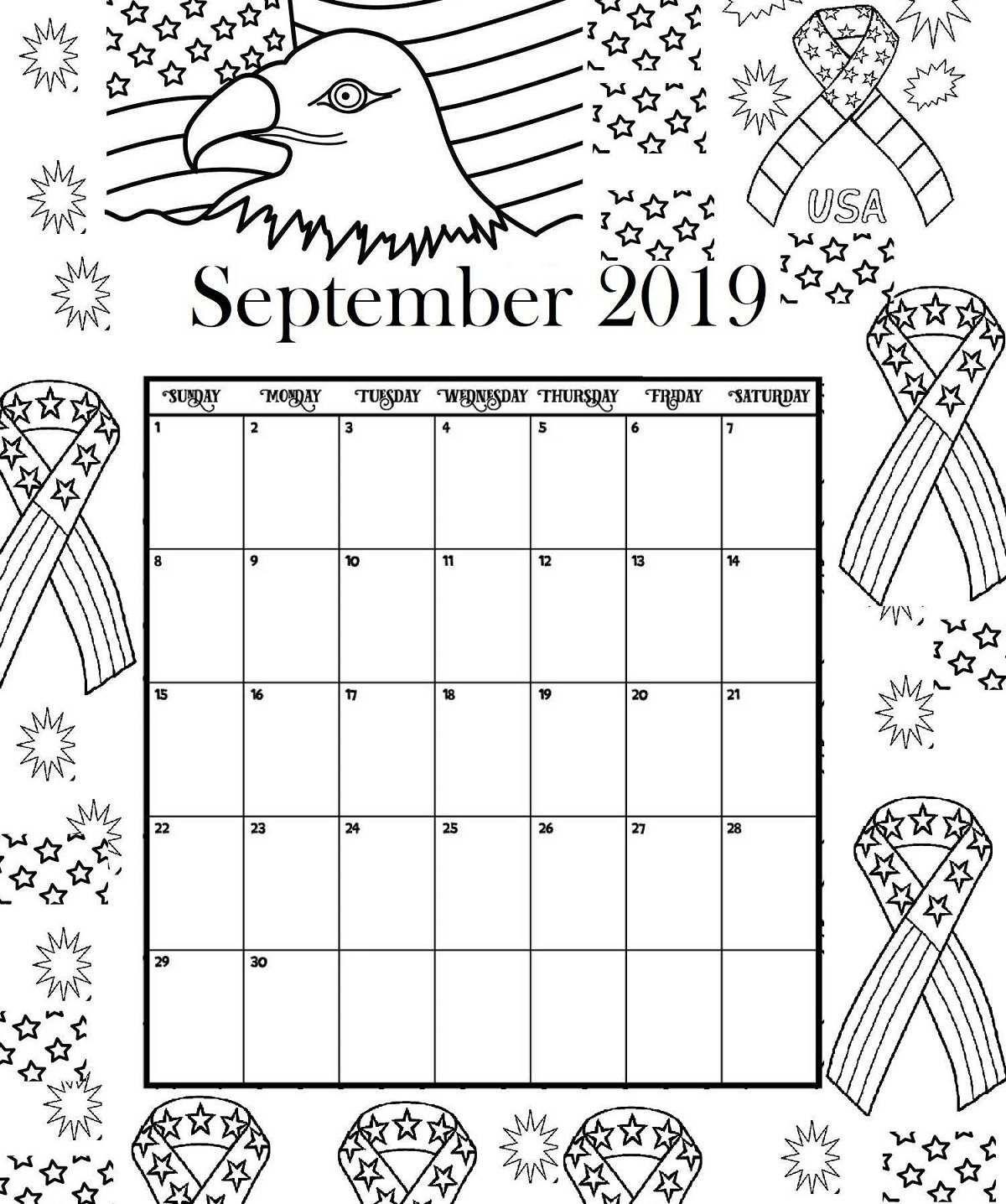 September Printable Coloring Calendar 2019 Calendar