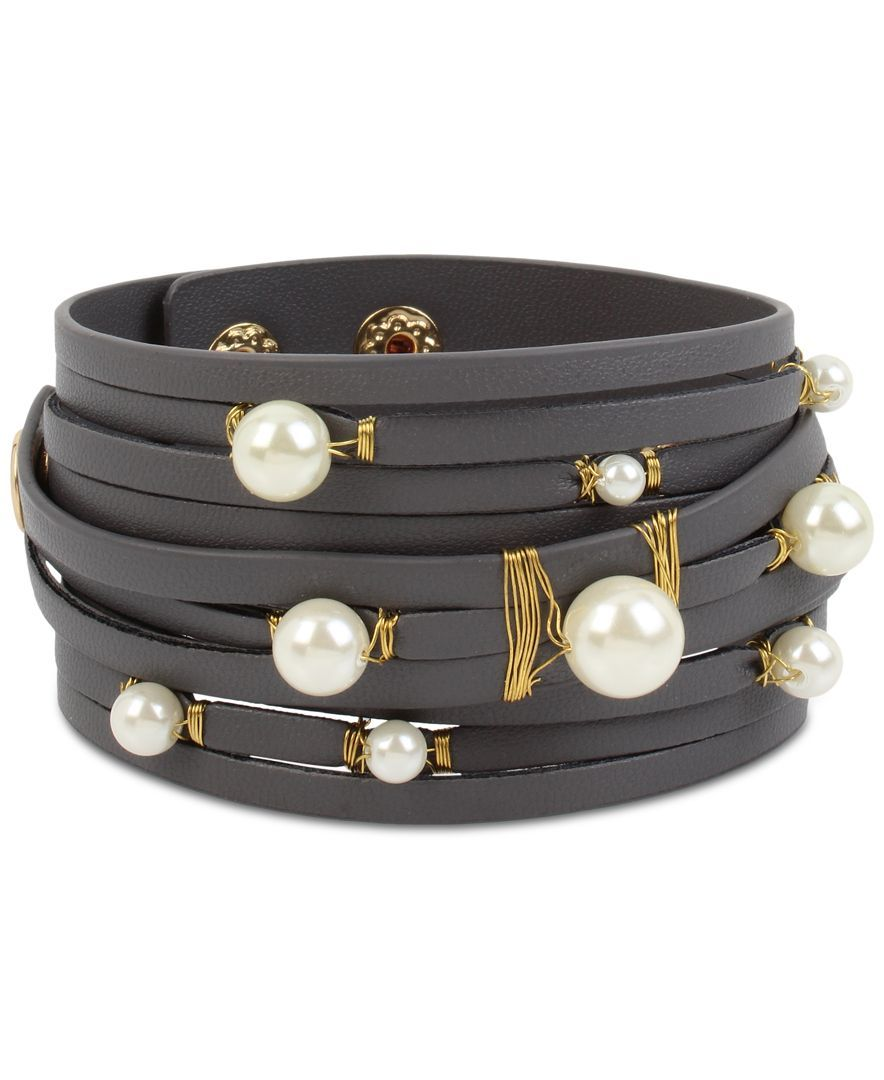 Inc International Concepts Gold-Tone Imitation Pearl Gray Faux Leather Wrap Bracelet, Only at Macy's