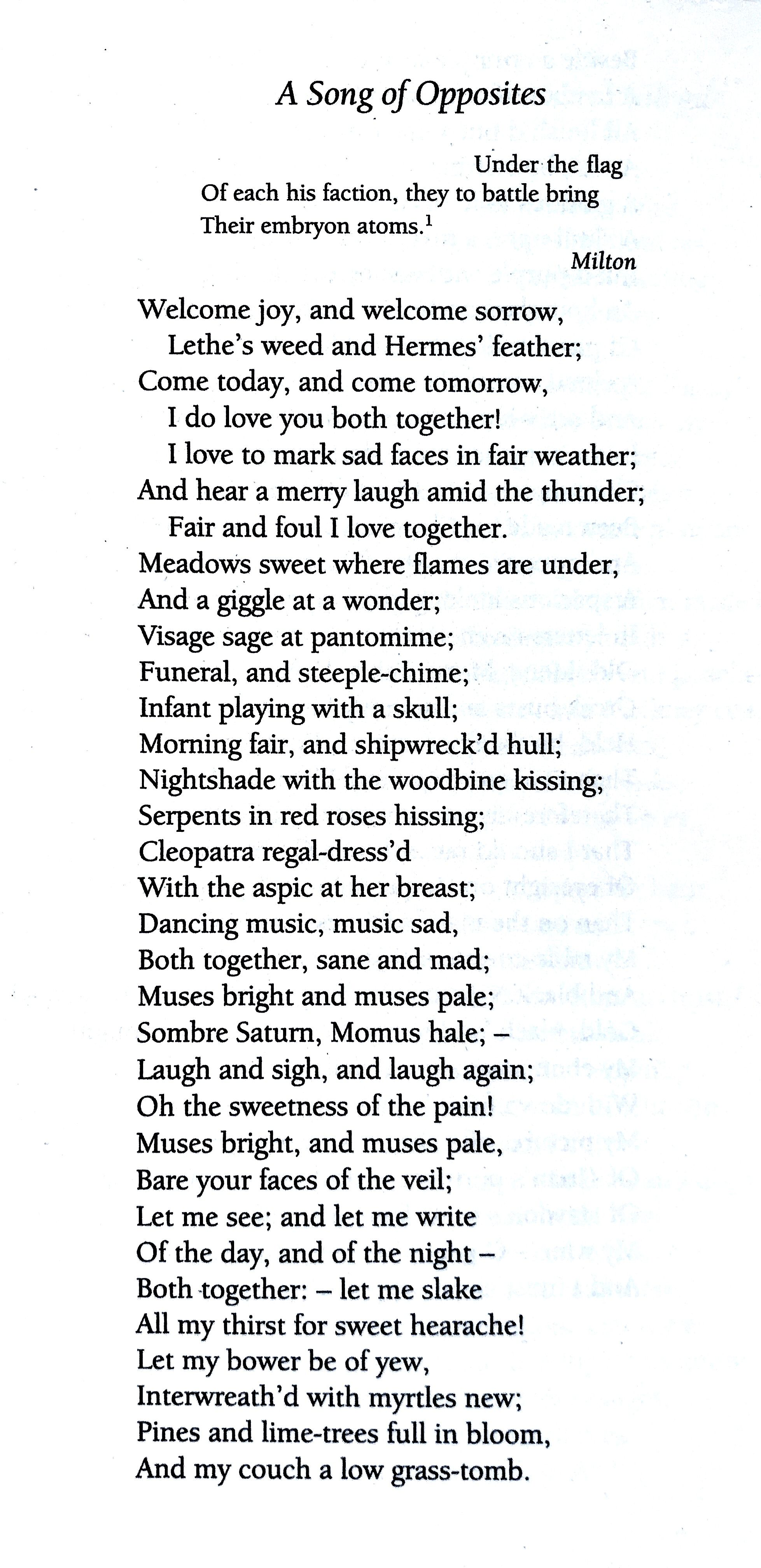 John Keat A Song Of Opposite Poem Quotes Line By Explanation The Ode To Autumn Keats