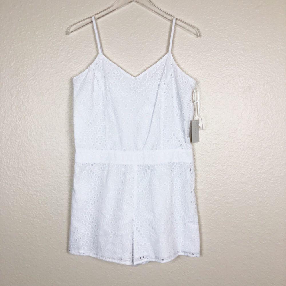 50d554e5f659 1. State NEW Ultra White Womens Size 8 V-Neck Eyelet Side-Zip Romper ...