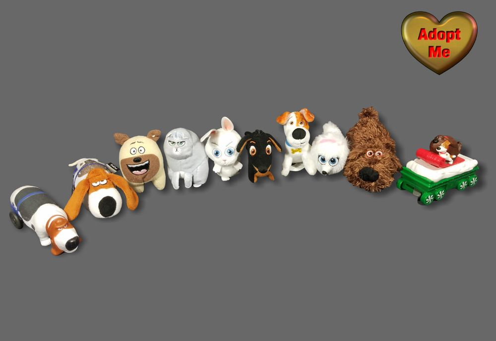 Mcdonalds Secret Life Of Pets Mini Stuffed Plush Lot Of 8 2 Toy Figures Dogs Mcdonalds Pets Movie Secret Life Of Pets Plush Stuffed Animals
