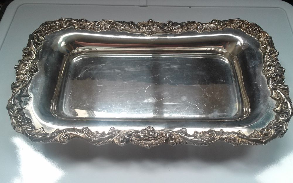 Old Sheffield Silver Co  Made in USA Antique Victorian Tray
