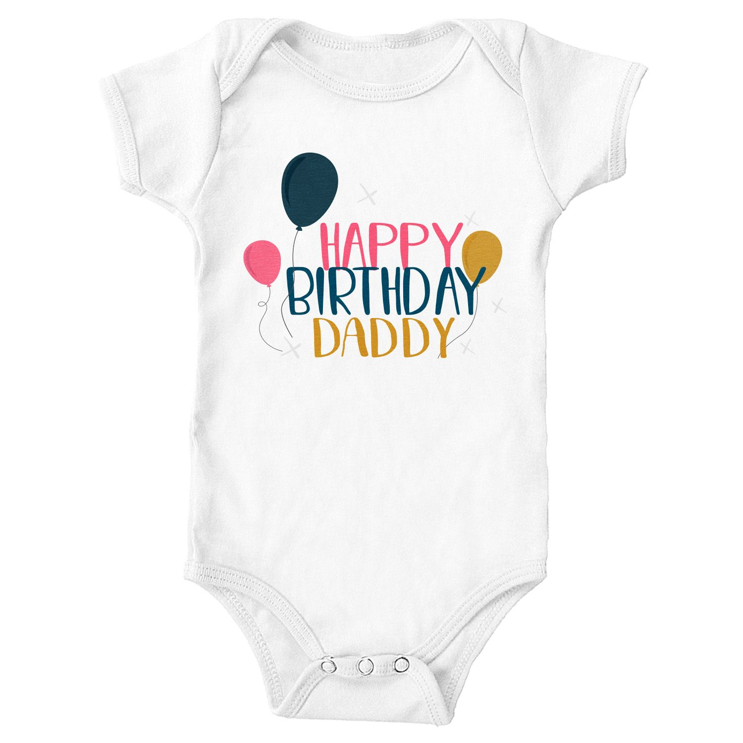 Personalised Baby Vest Bodysuit Happy Fathers Day Daddy Pink Dated Baby Vest