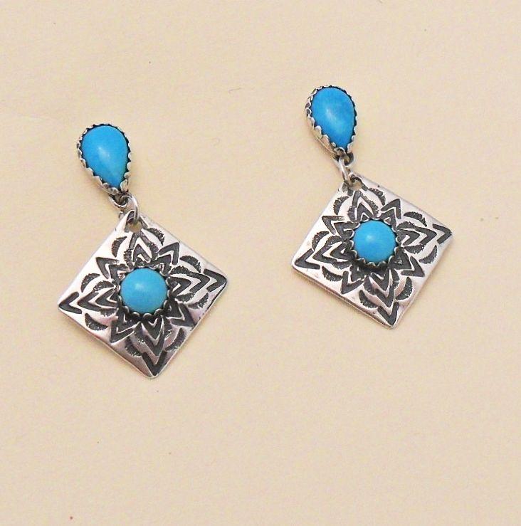 Blue Turquoise Sterling Silver Concho Earrings By E. Wentling. www.EagleDancerGallery.com