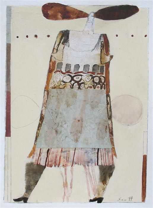 "Original art for sale at UGallery.com | 50/50 Chance by Scott Bergey | $225 | mixed media artwork | 12"" h x 9"" w 