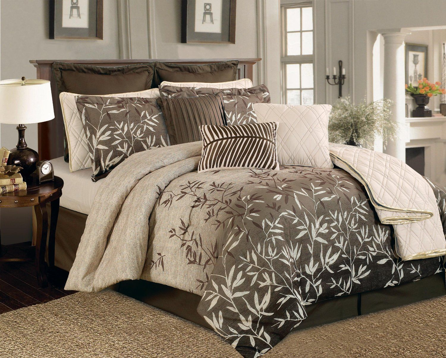 Amazon.com - 12 Pieces Taupe Luxury Comforter Set Bed-in-a-bag Queen Size Bedding Primrose -