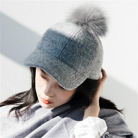 Pom pom baseball cap for women plain black wool winter hats outdoor wear f1aa37686eb