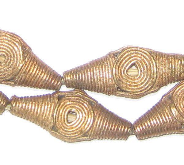 Brass Filligree Beads Bicone Flat, Basket Design (Small)