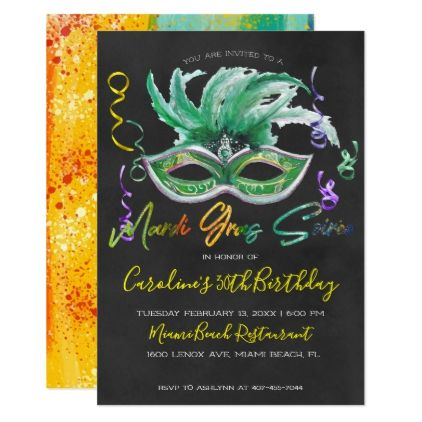 Mardi Gras Soiree 30th Birthday Card Watercolor Gifts Style
