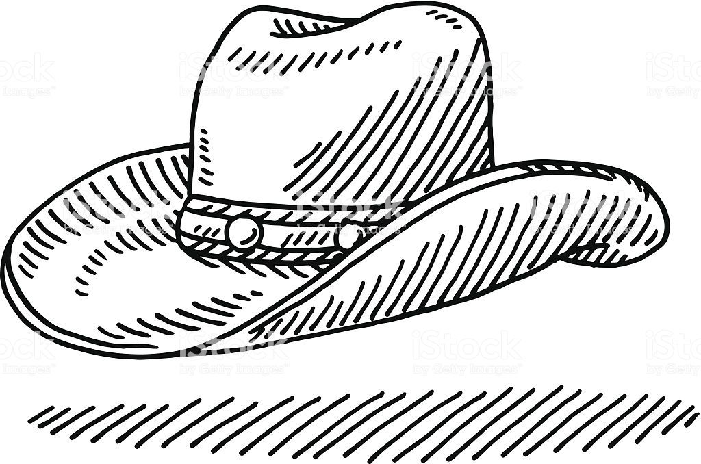 Hand Drawn Vector Drawing Of A Cowboy Hat Black And White Sketch