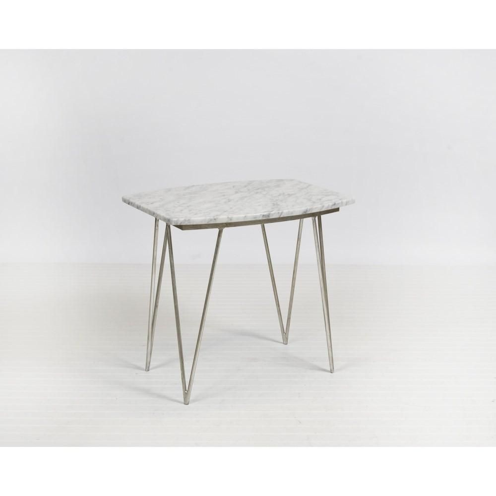 Worlds Away Suzy Silver Leaf And White Marble Side Table