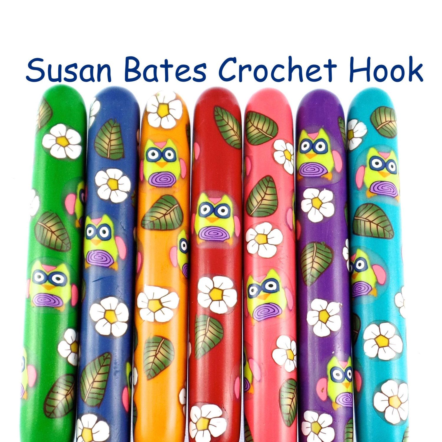 Susan Bates Polymer Clay Covered Crochet Hook, Owl Design by polymerclayshed on Etsy https://www.etsy.com/listing/232026784/susan-bates-polymer-clay-covered-crochet