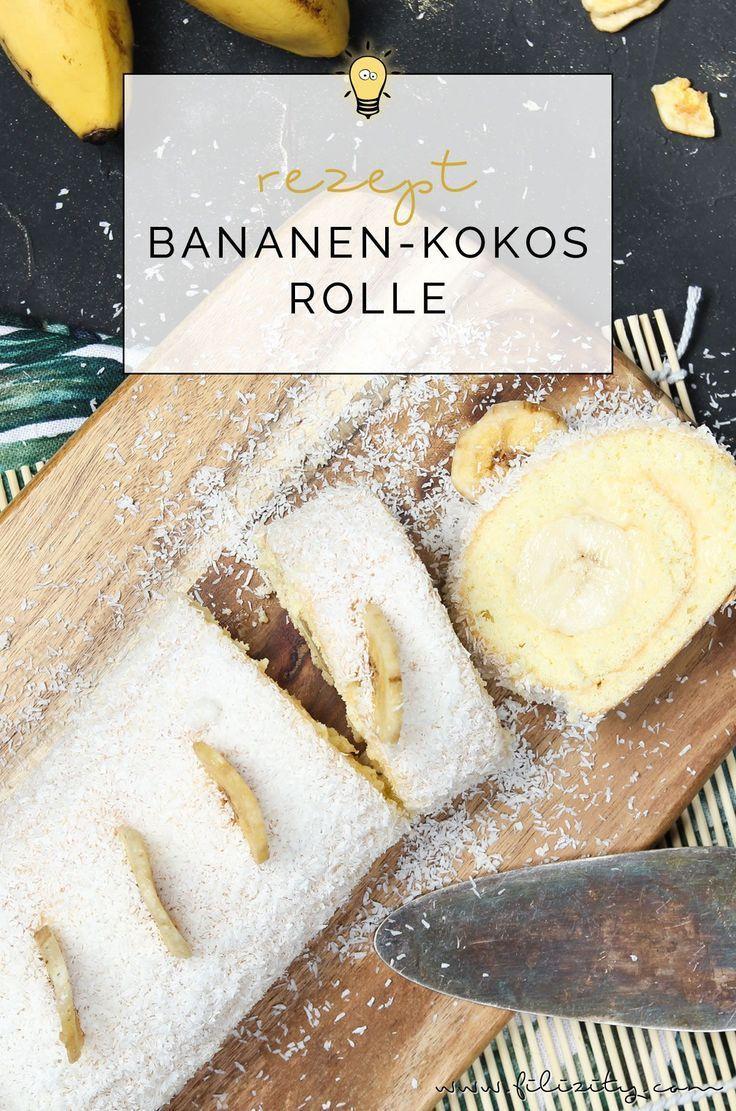 Einfaches Tortenrezept: Bananen-Kokos-Biskuitrolle mit Puddingcreme - Kreatives von Filizity.: DIY, Rezepte, Wohnen, Beauty, Fashion -