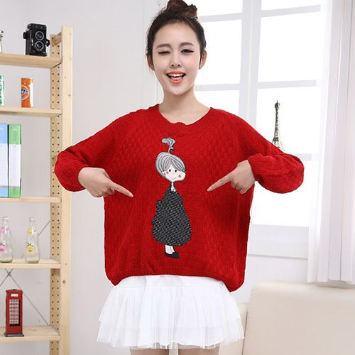 Hstyle Batwing Sleeve Girl Applique Knitwear