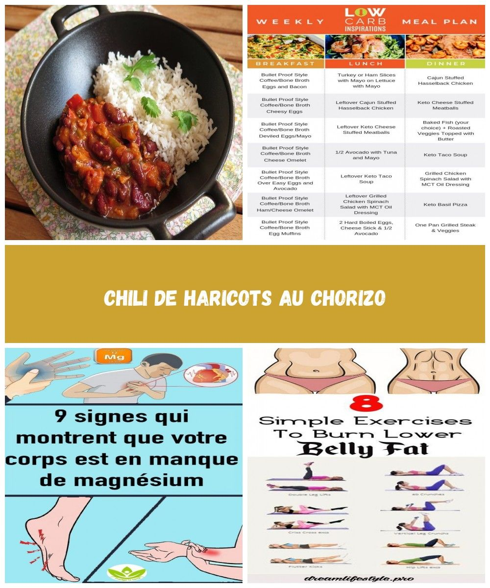 Chili De Haricots Au Chorizo Audrey Cuisine Healthy Diet Plan Chili De Haricots Au Chorizo With Images Breakfast Lunch Dinner Week Meal Plan Meal Planning