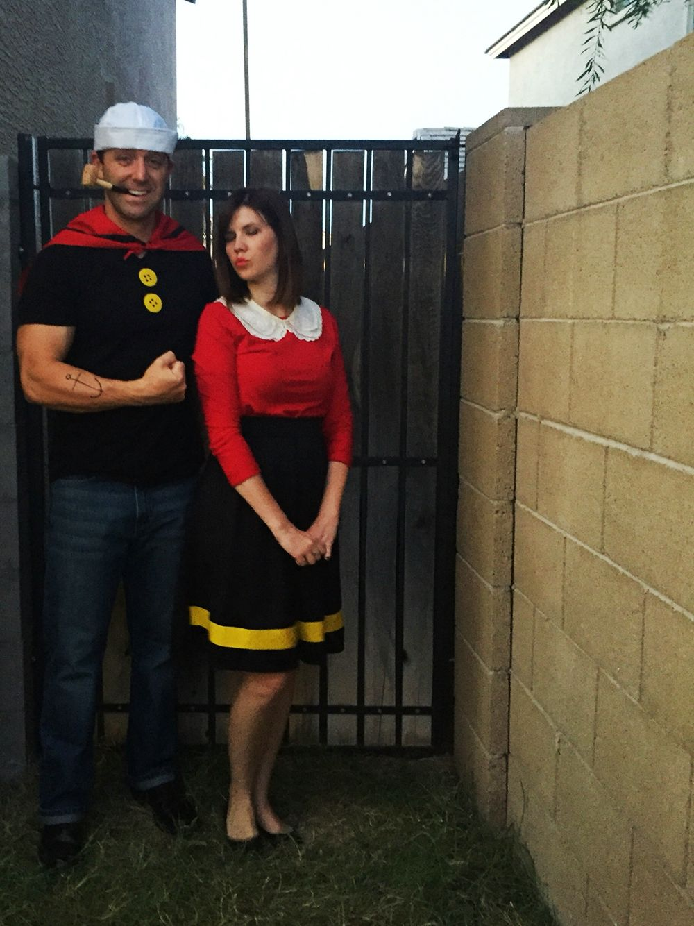 diy popeye and olive oyl costume