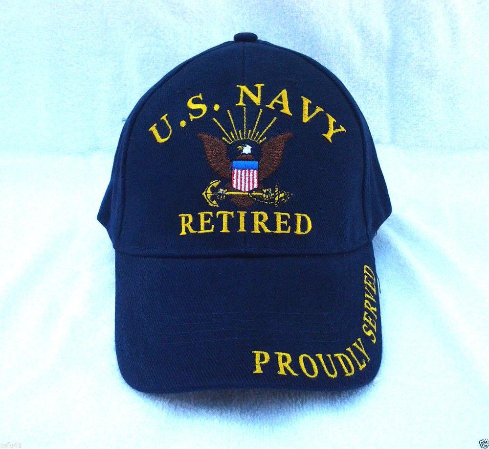 US NAVY RETIRED PROUDLY SERVED Military Veteran SOFT TWILL BALL CAP 205 EE   BaseballCap 33e923bd655