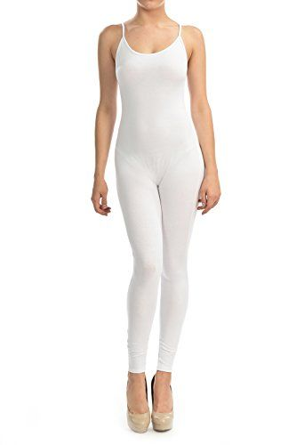 908b5fdcaeb0 7Wins Women Catsuit Cotton Lycra Tank Spaghetti Strapped Yoga Bodysuit  Jumpsuit SPlus 3X White     You can get more details by clicking on the  image.
