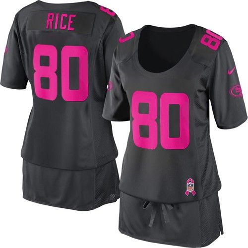 Nike San Francisco 49ers #80 Jerry Rice Elite Dark Grey Breast Cancer Awareness Women Stitched Jersey