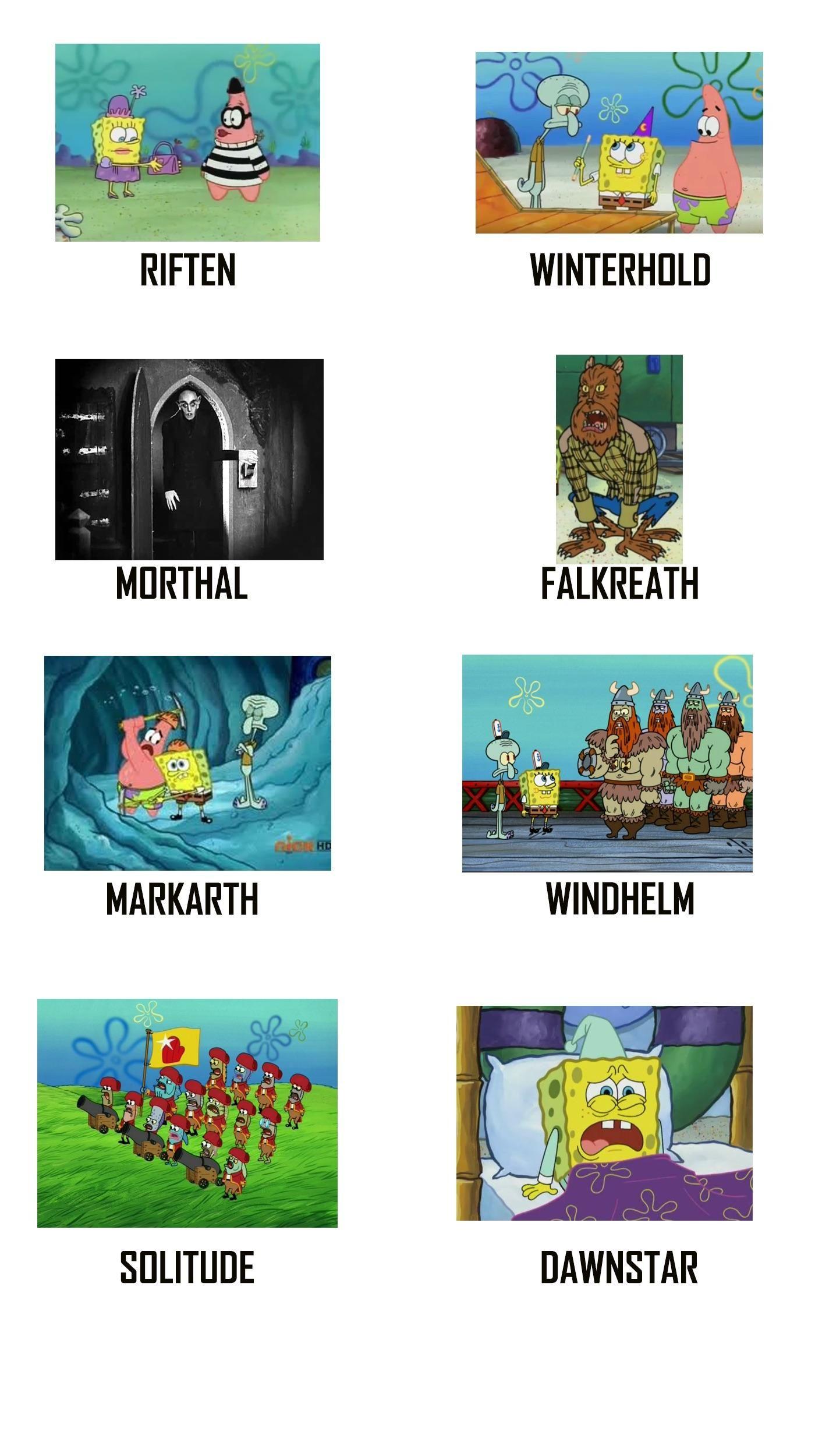The cities of skyrim portrayed by spongebob squarepants games skyrim elderscrolls be3 gaming videogames concours ngc