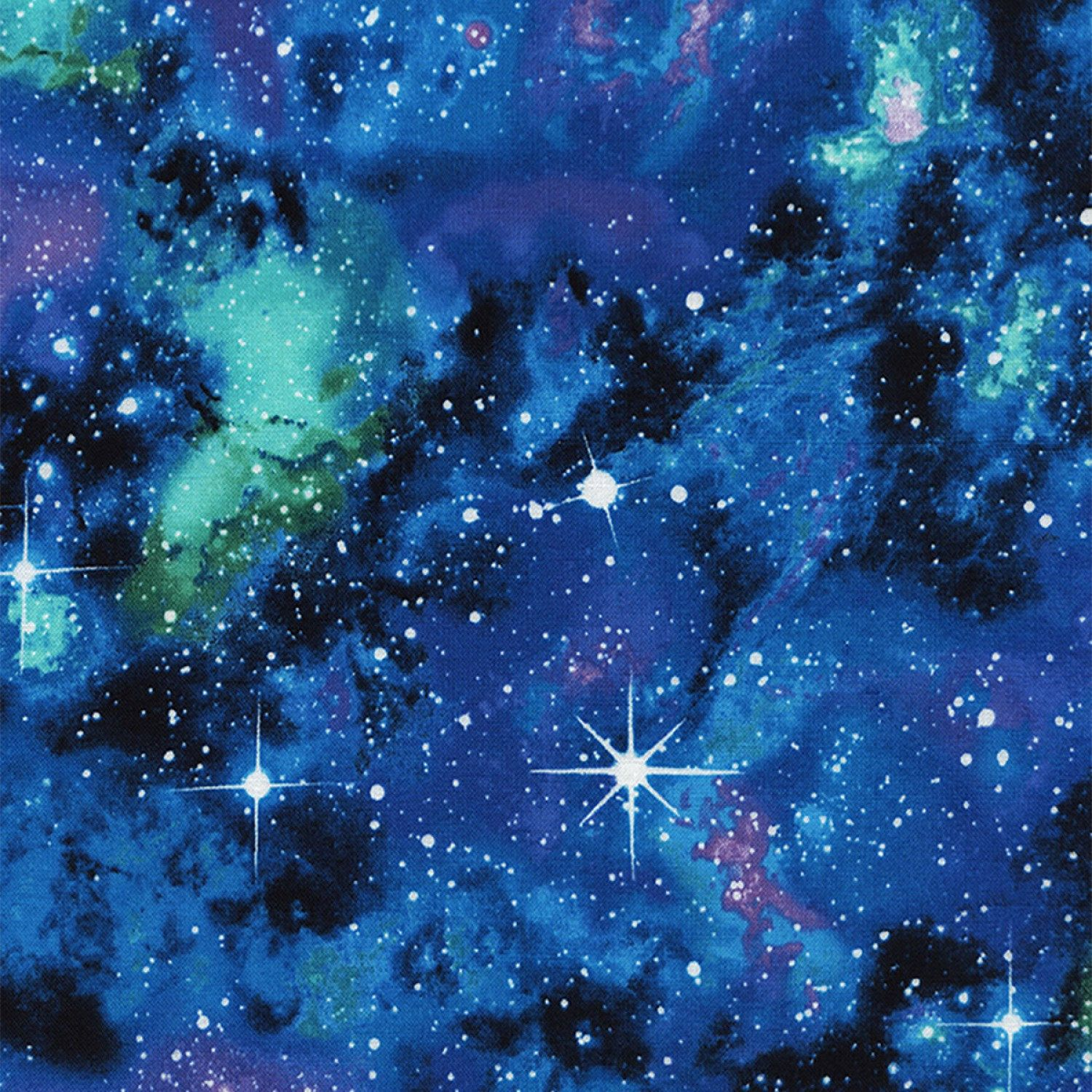 Space Galaxy Star Planet Blue Timeless Treasures 100/% Cotton Fabric by the yard