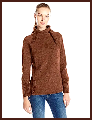 PRANA Women s Lucia Sweater Best Offer Recycled fleece mix sweater weave with Brushed polyester back Herringbone combo texture at sleeve sleeves neckline inset back body...