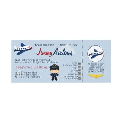 Kids Airline Ticket Birthday Party Invitation Party invitations