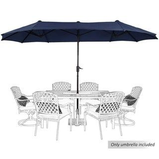 PHI VILLA 13ft Double-Sided Twin Large Patio Umbrella with Crank, Navy Blue (Navy Blue)(Polyester)