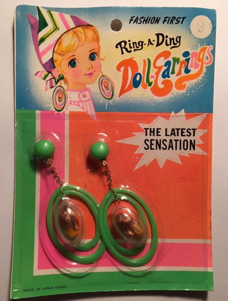 Vintage Fashion Kiddle Like Ring A Ding Doll Earrings on Card | eBay