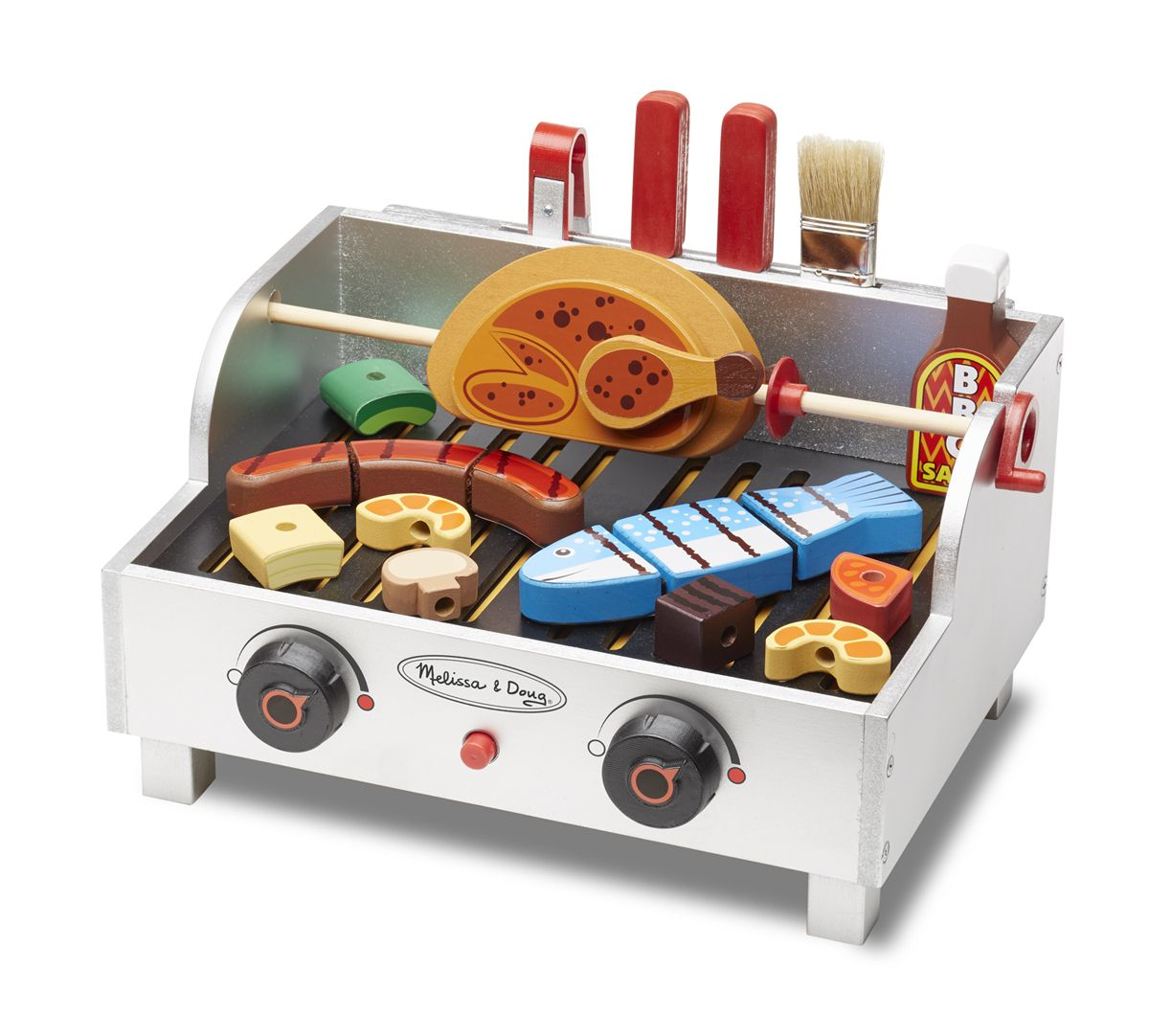 rotisserie grill barbecue set kitchens kitchenware and more melissa and doug wooden. Black Bedroom Furniture Sets. Home Design Ideas