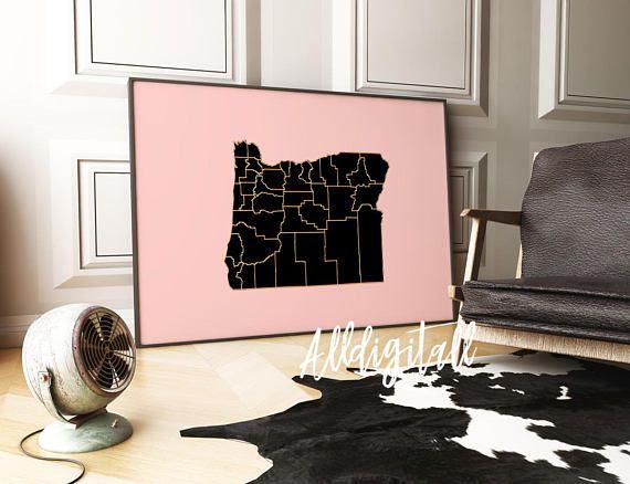 Oregon map print USA state poster modern wall art gold pink | maps ...