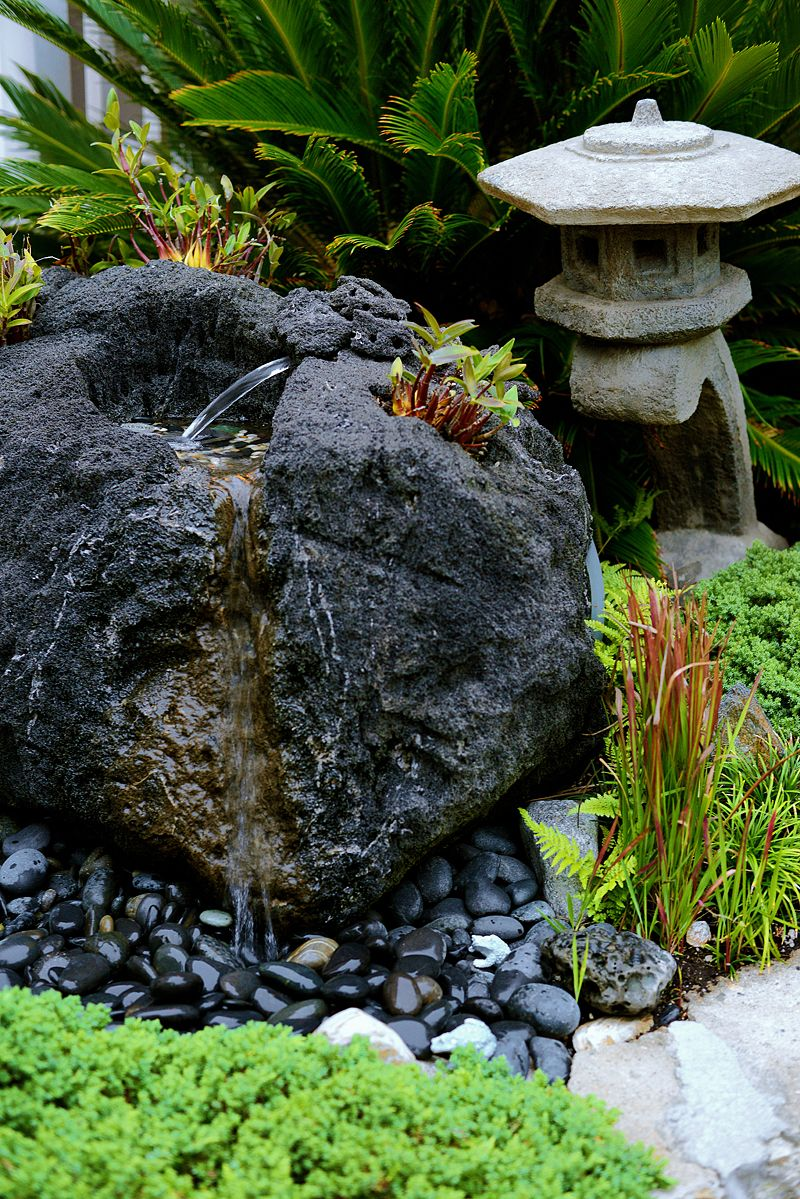 Exceptionnel Volcano Lava Rock Feather Fountain Carved By Japanese Garden Designer Ben  Oki