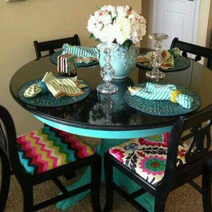 Turquoise And Black Dining Table By Bon Mallette Painted Kitchen Tables Refurbished Furniture Kitchen Table Makeover