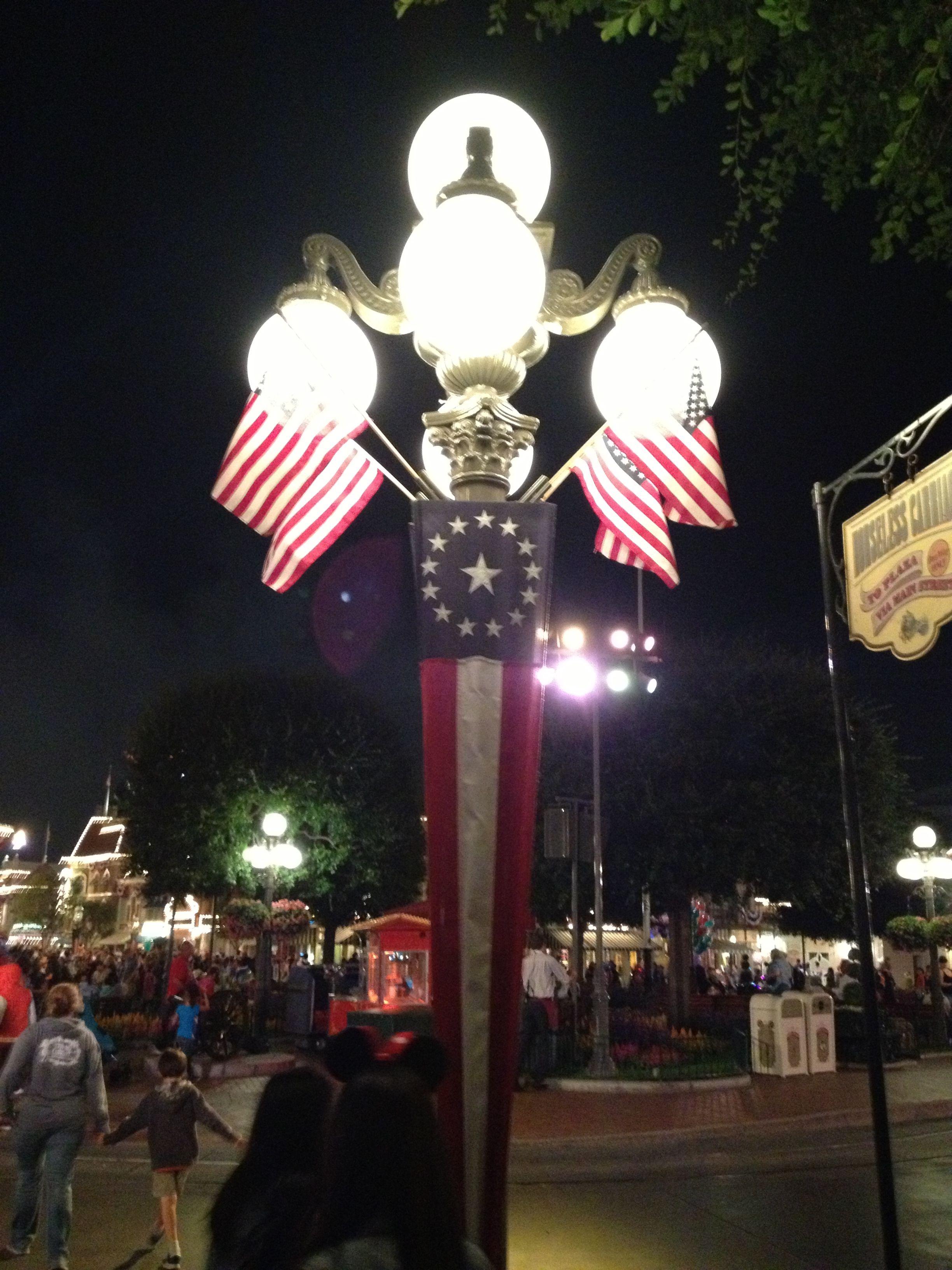 American Flag Lamp Posts @ Downtown Disney, LA   JO