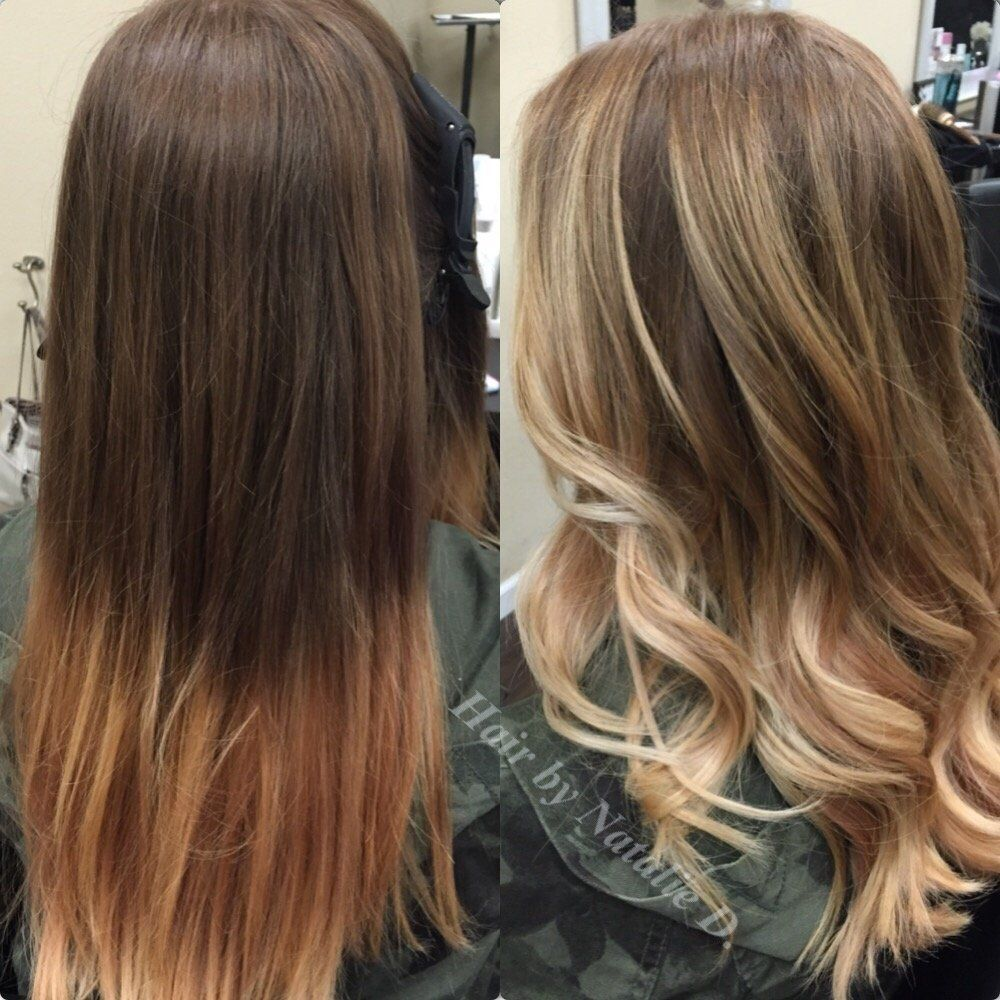 balayage highlights brunette before and after