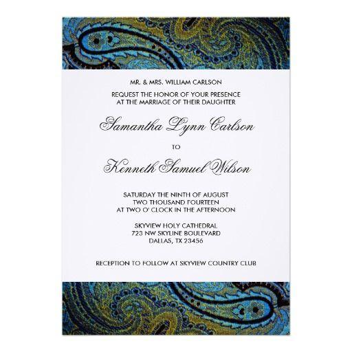 Peacock Paisley Indian Wedding Invitations