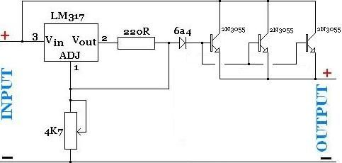 high current adjustable power supply with lm317 and parallelhigh current adjustable power supply with lm317 and parallel connected power transistors
