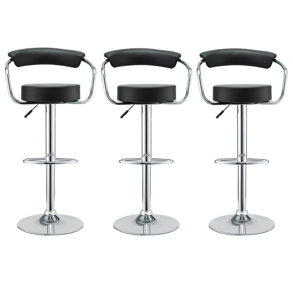 Diner Bar Stool Set Of 3 Black Modway Adult Unisex Bar Stools Adjustable Stool Home Bar Furniture