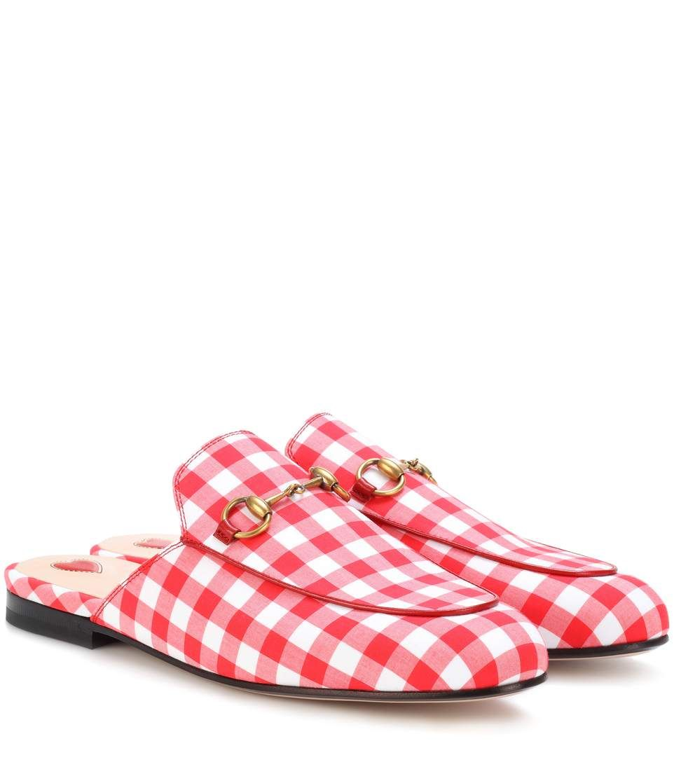 5b42a5f23 GUCCI Princetown gingham slippers. #gucci #shoes # | Gucci in 2019 ...