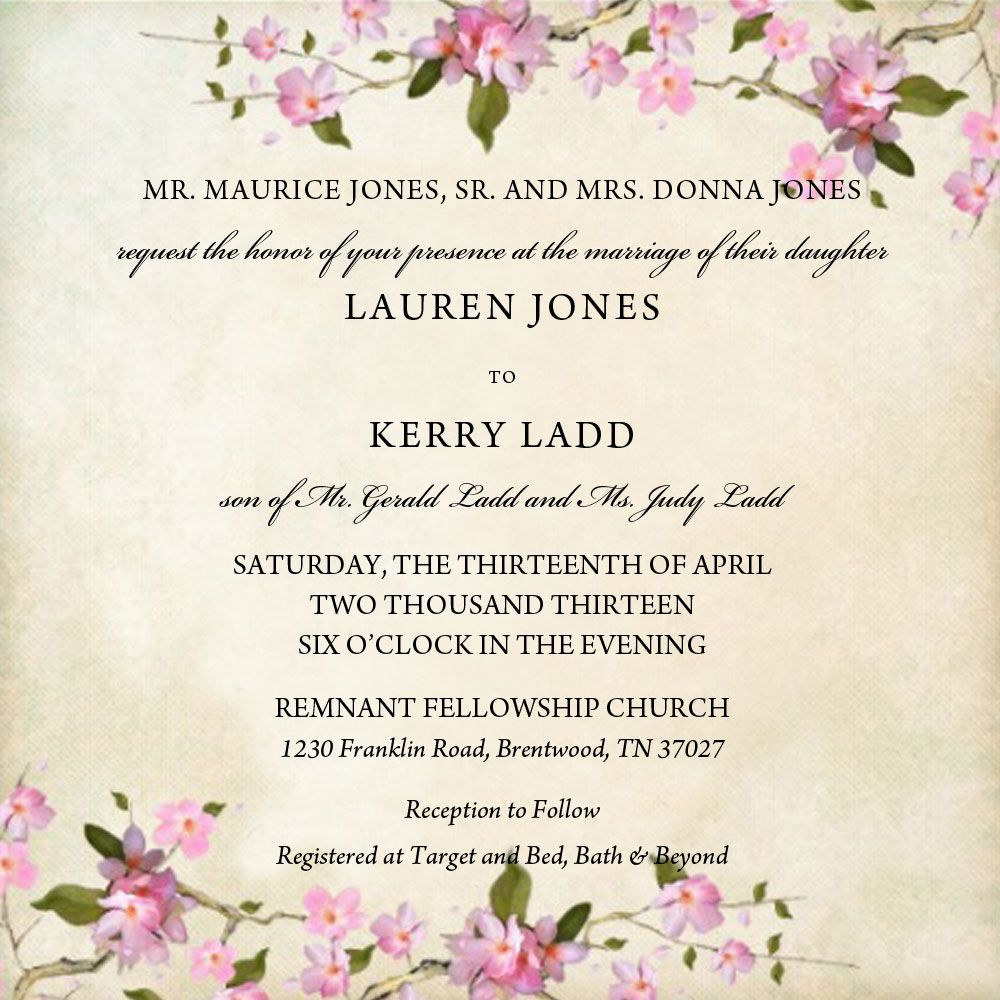 April spring wedding invitation cream background with pink floral ...