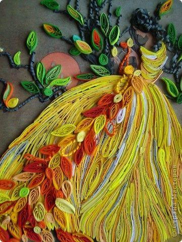 Картина, рисунок, панно Квиллинг: Девушка-осень плетёт ...  Девушка Осень Рисунок