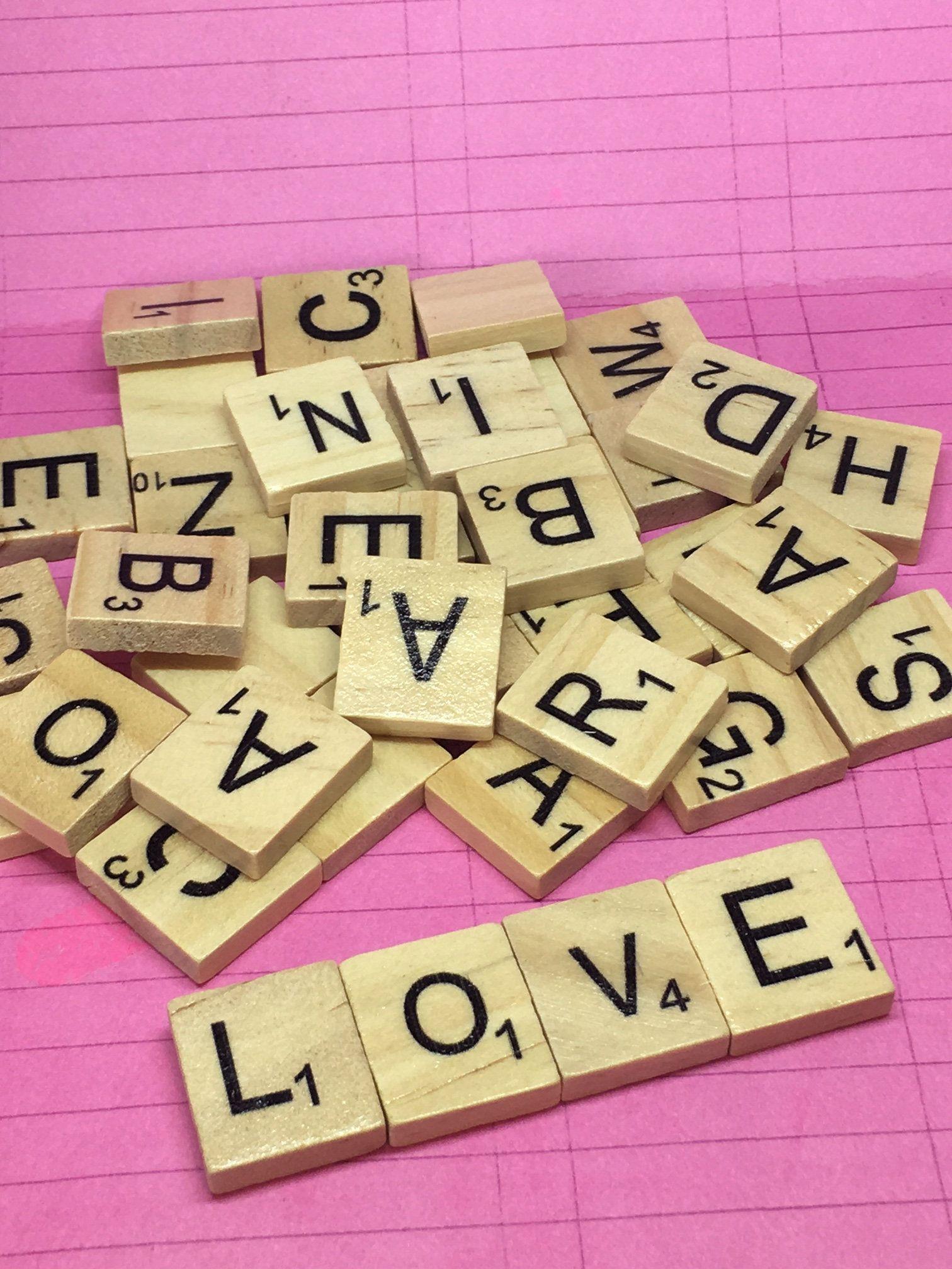 NEW! 100 Scrabble Tiles Pieces Wooden Alphabet Letters