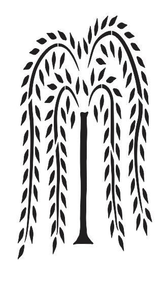 Tall Willow Tree STENCIL for Primitive Signs Fabric Canvas Walls