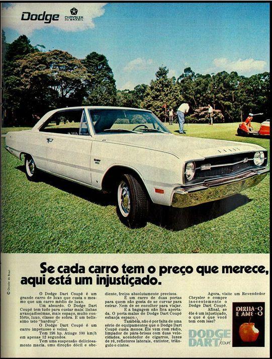 Propaganda de carros na década de 70. Brazilian car 70,