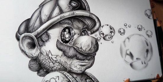 Incredible Super Mario Pencil Drawing By Yves Riveau Pez