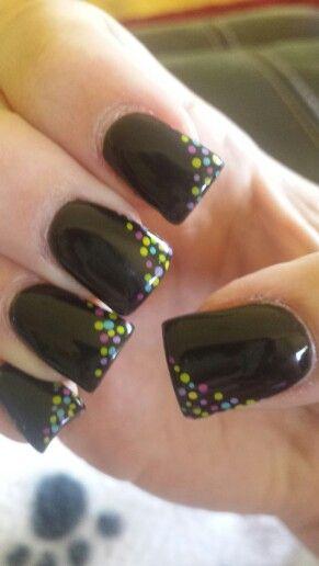 Black gel nails with polka dots :)