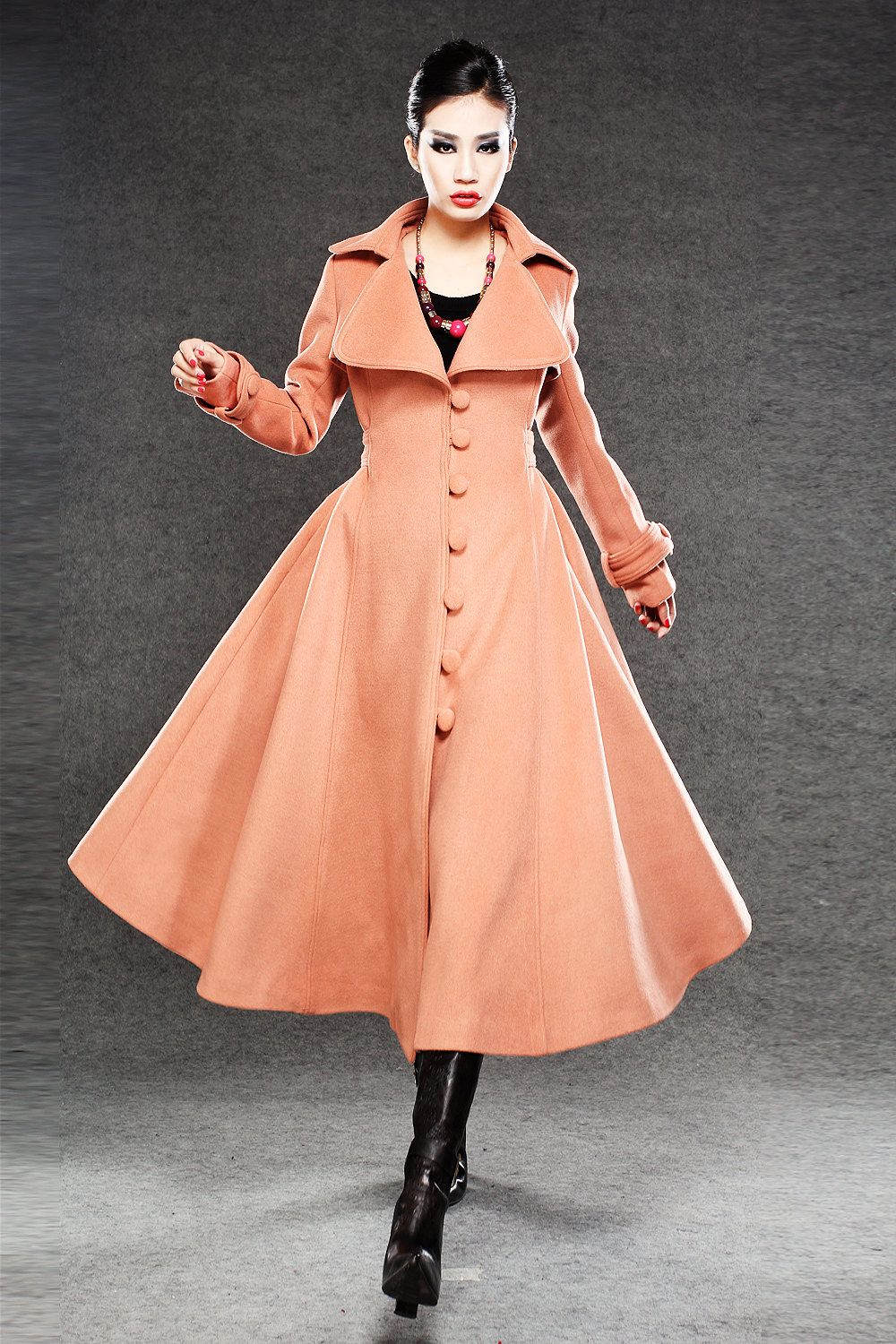 Long Cashmere Swing Coat - Single Breasted Flared Luxury Coat with ...